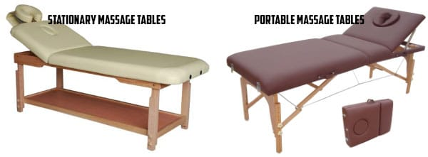 and stationary massage tables